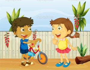 Illlustration of two children talking
