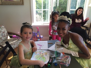 And who should arrive to color with the guest of honor but Princess Tiana herself!
