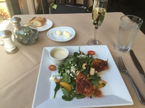 An entree of blackened swordfish on a spinach salad did the trick