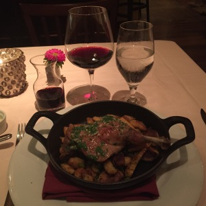 But much to my delight, the waitress announced that the chef, hearing of my desire, had found a way to make the duck confit just for me. On it's bed of gnocchi