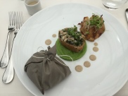 Cushion of veal cooked like a boiled ham, with grilled bacon from the same meat, seasoned with lovage. Heads of broccoli and duxelles of finely sliced chard served on home-made wholegrain bread roll