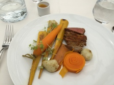 """Beef eye-of-round and Carrots cooked in mild """" ices (Voatsiperifery pepper, paprika and turmeric), cumin potato bubbles and sa % ron yellow zucchini, beef gravy and cress shoots to"""