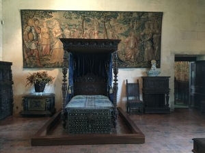 Catherine de Medici's bedroom in her usual somber hues